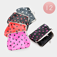 12PCS - Heart Patterned Coin Clasp Purses