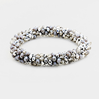 Two Tone Faceted Glass Beaded Stretch Bracelet