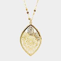 Filigree Oval Mother of Pearl Pendant Long Necklace