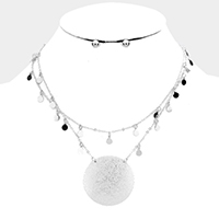 Layered Round Metal Disc Accented Bib Necklace