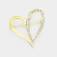 Stone Trimmed Heart Pin Brooch