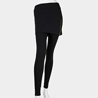 Zipper Accent Skirt Heavy Leggings