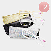 12PCS - Bling Frame Reading Glasses and Cases