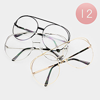 12PCS - Oversized Retro Clear Lens Sunglasses