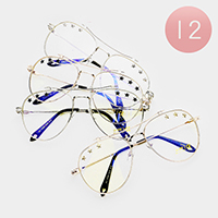 12PCS - Oversized Star Detail Clear Lens Aviator Sunglasses