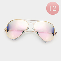 12PCS - Oversized Mirrored Lens Aviator Sunglasses