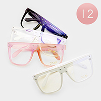 12PCS - Oversized Square Clear Lens Sunglasses