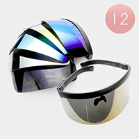 12PCS - Oversized Futuristic Mirrored Lens Visor Sunglasses