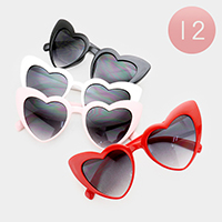 12PCS - Oversized Heart Frame Sunglasses