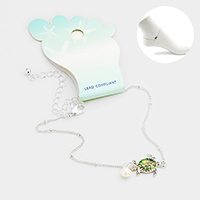 Colored Metal Turtle Pearl Charm Anklet
