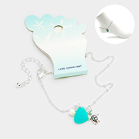 Sea Glass Metal Turtle Pearl Charms Anklet