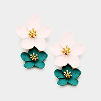 Two Tone Double Bloom Flower  Dangle Earrings