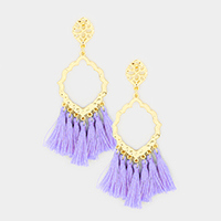 Metal Petal Hoop Tassel Dangle Earrings