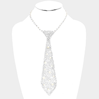 Pave Crystal Rhinestone Pearl Detail Tie Necklace