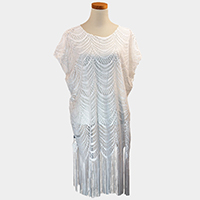 Tassel Fringe Crochet Cover Up Poncho