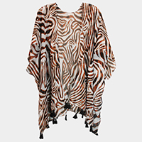 Zebra Patterned Open Poncho