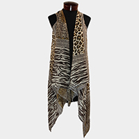 Leopard zebra pattern flowing sheer vest