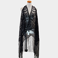 Long Drop Tassel Lovely Lace Scarf / Vest