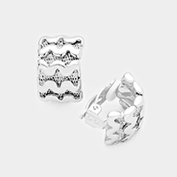 Wavy Metal Clip on Earrings