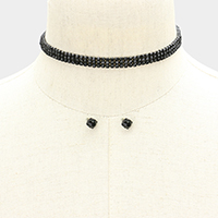 3Rows Pave Crystal Rhinestone Choker Necklace