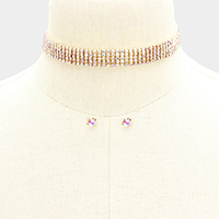 5Rows Pave Crystal Rhinestone Choker Necklace