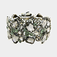 Marquise Glass Crystal Cluster Evening Stretch Bracelet