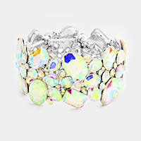 Oval Glass Crystal Cluster Evening Stretch Bracelet