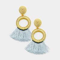 Thread Hoop Tassel Earrings