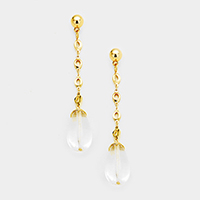 Long Drop Metal Chain Clear Teardrop Dangle Earrings