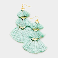 Layered Triple Tassel Fringe Earrings