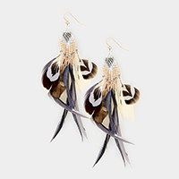 Beaded Multi Feather Fringe Earrings