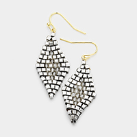 Two Tone Beaded Diamond Shaped Dangle Earrings