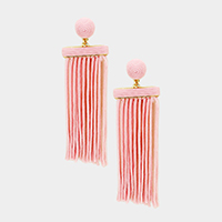 Thread Dome Tassel Fringe Earrings