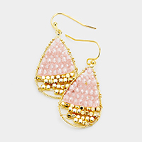 Two Tone Beaded Teardrop Earrings