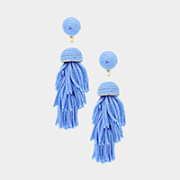 Thread Dome Layered Tassel Earrings