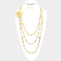 Triple Layered Beaded Mesh Flower Accented Bib Necklace