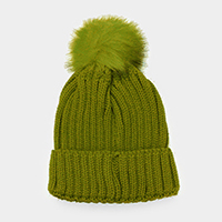 Cable Knit Faux Pom Pom Beanie Hat