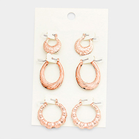 3Pairs Mixed Knocker Metal Pin Catch Earrings