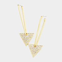 Pave Stone Triangle Pin Catch Earrings