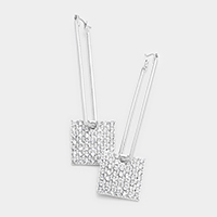 Pave Stone Square Pin Catch Earrings