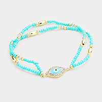 Beaded Evil Eye Accented Stretch Bracelet