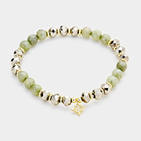 Semi Precious Brass CZ North Star Charm Stretch Bracelet