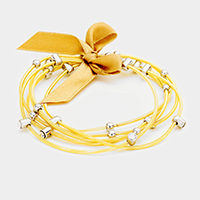 6Layers Stone Multi Strand Metal Ribbon Stretch Bracelets