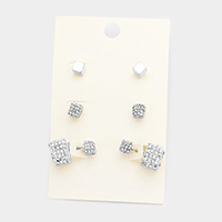 3Pairs Mixed Pave Cube Stud / Double Sided Earrings