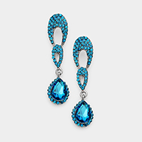 Pave Stone Teardrop Accented Dangle Evening Earrings