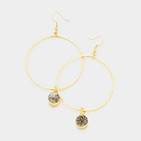 Genuine Druzy Metal Hoop Dangle Earrings