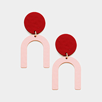 Two Tone Geometric Link Dangle Earrings