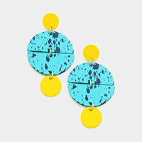 Painted Geometric Disc Dangle Earrings