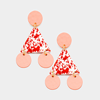 Painted Geometric Triangle Disc Dangle Earrings