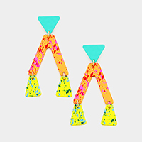 Painted Geometric Link Dangle Earrings